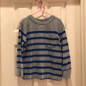 Gap Kids XS 4-5 blue gray striped shirt